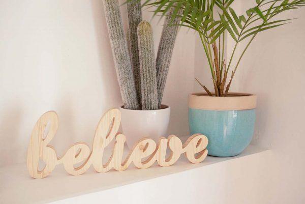 FRASE EN MADERA MOTIVACIONAL|BELIEVE