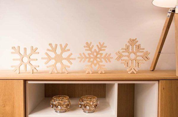 copos de nieve madera para decorar